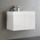 Vista 30'' White Wall Hung Modern Bathroom Cabinet w/ Integrated Sink, Overall Dimensions: 29-1/2'' W x 18-7/8'' D x 21-5/8'' H