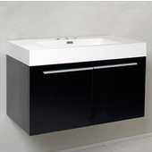 Vista Black 36'' Wide Modern Bathroom Cabinet w/ Countertop/Integrated Sink, 35-3/8'' W x 18-3/4'' D x 21-3/4'' H