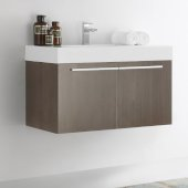 Vista 36'' Gray Oak Modern Bathroom Cabinet w/ Integrated Sink, Overall Dimensions: 35-3/8'' W x 18-3/4'' D x 21-3/4'' H