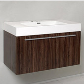 Vista Walnut 36'' Wide Modern Bathroom Cabinet w/ Countertop/Integrated Sink, 35-3/8'' W x 18-3/4'' D x 21-3/4'' H