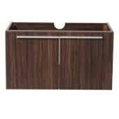 Vista 36'' Walnut Modern Vanity Base Cabinet, 35-3/8'' W x 18-3/4'' D x 17-3/4'' H