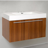 Vista Teak 36'' Wide Modern Bathroom Cabinet w/ Countertop/Integrated Sink, 35-3/8'' W x 18-3/4'' D x 21-3/4'' H