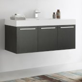 Vista 48'' Black Wall Hung Modern Bathroom Cabinet w/ Integrated Sink, Overall Dimensions: 47-5/16'' W x 18-7/8'' D x 21-5/8'' H