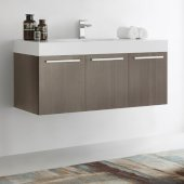 Vista 48'' Gray Oak Wall Hung Modern Bathroom Cabinet w/ Integrated Sink, Overall Dimensions: 47-5/16'' W x 18-7/8'' D x 21-5/8'' H
