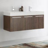 Vista 48'' Walnut Wall Hung Double Sink Modern Bathroom Cabinet w/ Integrated Sink, Overall Dimensions: 47-5/16'' W x 18-7/8'' D x 21-5/8'' H