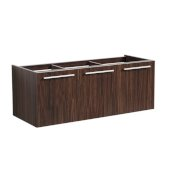 Vista 48'' Walnut Wall Hung Modern Bathroom Vanity Base Cabinet, 47'' W x 18-3/4'' D x 17-5/8'' H