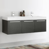 Vista 60'' Black Wall Hung Double Sink Modern Bathroom Cabinet w/ Integrated Sink, Overall Dimensions: 59'' W x 18-7/8'' D x 21-5/8'' H