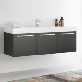 Vista 60'' Black Wall Hung Single Sink Modern Bathroom Cabinet w/ Integrated Sink, Overall Dimensions: 59'' W x 18-7/8'' D x 21-5/8'' H