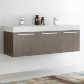 Vista 60'' Gray Oak Wall Hung Double Sink Modern Bathroom Cabinet w/ Integrated Sink, Overall Dimensions: 59'' W x 18-7/8'' D x 21-5/8'' H