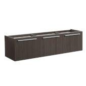 Vista 60'' Gray Oak Wall Hung Single Sink Modern Bathroom Vanity Base Cabinet, 59'' W x 18-3/4'' D x 17-5/8'' H