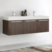 Vista 60'' Walnut Wall Hung Double Sink Modern Bathroom Cabinet w/ Integrated Sink, Overall Dimensions: 59'' W x 18-7/8'' D x 21-5/8'' H