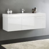 Vista 60'' White Wall Hung Single Sink Modern Bathroom Cabinet w/ Integrated Sink, Overall Dimensions: 59'' W x 18-7/8'' D x 21-5/8'' H