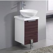 Adour 16'' Wide Dark Walnut Modern Bathroom Cabinet w/ Top & Vessel Sink
