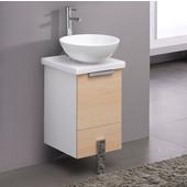 Adour 16'' Wide Light Walnut Modern Bathroom Cabinet w/ Top & Vessel Sink