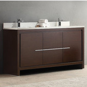 Allier 60'' Wide Wenge Brown Modern Double Sink Bathroom Cabinet w/ Top & Sinks