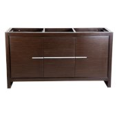 Allier 60'' Wenge Brown Modern Double Sink Vanity Base Cabinet, 59-5/8'' W x 20-1/4'' D x 32-1/2'' H