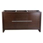 Allier 60'' Wenge Brown Modern Double Sink Vanity Base Cabinet, 59-5/8'' W x 20-1/4'' D x 32-1/2'' H