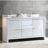 Allier 60'' Wide White Modern Double Sink Bathroom Cabinet w/ Top & Sinks