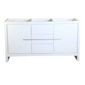 Allier 60'' White Modern Double Sink Vanity Base Cabinet, 59-5/8'' W x 20-1/4'' D x 32-1/2'' H