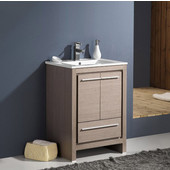 Allier 24'' Wide Gray Oak Modern Bathroom Cabinet w/ Sink