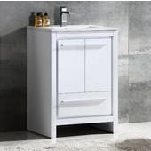 Allier 24'' Wide White Modern Bathroom Cabinet w/ Sink