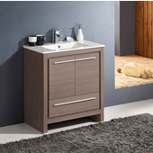 Allier 30'' Wide Gray Oak Modern Bathroom Cabinet w/ Sink