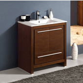 Allier 30'' Wide Wenge Brown Modern Bathroom Cabinet w/ Sink