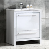 Allier 30'' Wide White Modern Bathroom Cabinet w/ Sink