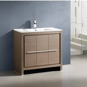 Allier 36'' Wide Gray Oak Modern Bathroom Cabinet w/ Sink