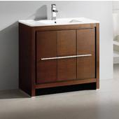 Allier 36'' Wide Wenge Brown Modern Bathroom Cabinet w/ Sink