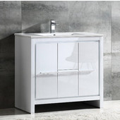 Allier 36'' Wide White Modern Bathroom Cabinet w/ Sink