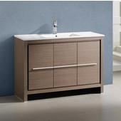 Allier 48'' Wide Gray Oak Modern Bathroom Cabinet w/ Sink