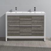 Allier Rio 48'' Ash Gray Double Sink Modern Bathroom Vanity w/ Sink, Cabinet Base: 47-1/4'' W x 18-1/2'' D x 33-1/2'' H, Sink: 20'' W x 11'' D x 5'' H