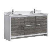 Allier Rio 48'' Ash Gray Double Sink Modern Bathroom Cabinet, Cabinet Base: 47-1/4'' W x 18'' D x 32-7/8'' H