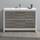 Allier Rio 48'' Ash Gray Single Sink Modern Bathroom Cabinet w/ Sink, Cabinet Base: 47-1/4'' W x 18-1/2'' D x 33-1/2'' H, Sink: 20'' W x 11'' D x 5'' H
