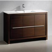 Allier 48'' Wide Wenge Brown Modern Bathroom Cabinet w/ Sink