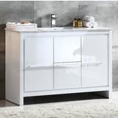 Allier 48'' Wide White Modern Bathroom Cabinet w/ Sink
