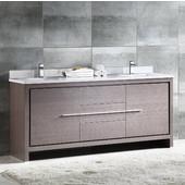 Allier 72'' Wide Gray Oak Modern Double Sink Bathroom Cabinet w/ Top & Sinks