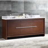 Allier 72'' Wide Wenge Brown Modern Double Sink Bathroom Cabinet w/ Top & Sinks