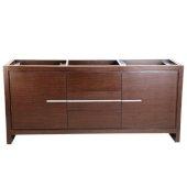Allier 72'' Wenge Brown Modern Double Sink Vanity Base Cabinet, 71-1/4'' W x 20-1/4'' D x 32-1/2'' H