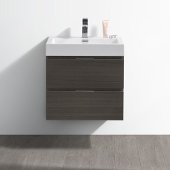 Valencia 24'' Gray Oak Wall Hung Modern Bathroom Vanity, Vanity Base: 24'' W x 19'' D x 23-1/5'' H, Sink: 20-5/16'' W x 12-7/8'' D x 3-7/8'' H