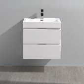 Valencia 24'' Glossy White Wall Hung Modern Bathroom Vanity, Vanity Base: 24'' W x 19'' D x 23-1/5'' H, Sink: 20-5/16'' W x 12-7/8'' D x 3-7/8'' H