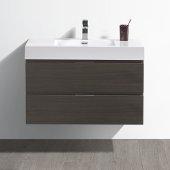 Valencia 36'' Gray Oak Wall Hung Modern Bathroom Vanity, Vanity Base: 36'' W x 19'' D x 23-11/16'' H, Sink: 18-1/5'' W x 12-5/16'' D x 4-11/16'' H