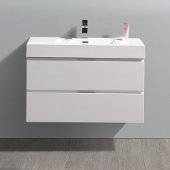Valencia 36'' Glossy White Wall Hung Modern Bathroom Vanity, Vanity Base: 36'' W x 19'' D x 23-11/16'' H, Sink: 18-1/5'' W x 12-5/16'' D x 4-11/16'' H