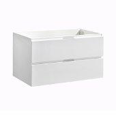 Valencia 36'' Glossy White Wall Hung Modern Bathroom Cabinet , Vanity Base: 36'' W x 19'' D x 19-11/16'' H