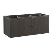 Valencia 48'' Gray Oak Wall Hung Double Sink Modern Bathroom Cabinet , Vanity Base: 48'' W x 19'' D x 19-11/16'' H