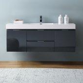 Valencia 60'' Dark Slate Gray Wall Hung Modern Bathroom Vanity, Vanity Base: 60'' W x 19'' D x 23-11/16'' H, Sink: 21-7/8'' W x 12-5/16'' D x 4-4/5'' H