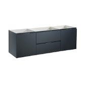 Valencia 60'' Dark Slate Gray Wall Hung Single Sink Modern Bathroom Cabinet , Vanity Base: 60'' W x 19'' D x 19-11/16'' H