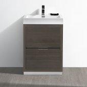 Valencia 24'' Gray Oak Free Standing Modern Bathroom Vanity, Vanity Base: 24'' W x 19'' D x 33-1/2'' H, Sink: 20-5/16'' W x 12-7/8'' D x 24'' H