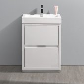Valencia 24'' Glossy White Free Standing Modern Bathroom Vanity, Vanity Base: 24'' W x 19'' D x 33-1/2'' H, Sink: 20-5/16'' W x 12-7/8'' D x 24'' H